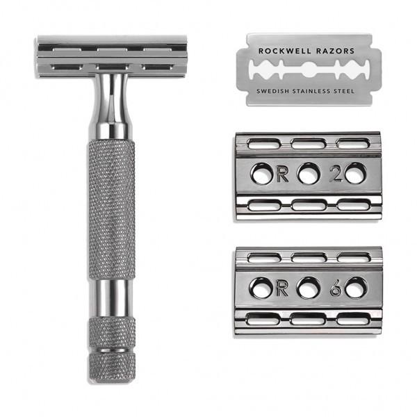 Т-образная бритва Rockwell 6C, серый хром т образная бритва muehle traditional хром open comb