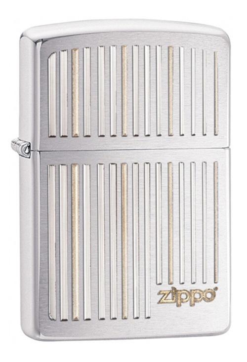 Зажигалка ZIPPO Classic, латунь с покрытием Brushed Chrome, серебристый, матовый хром, 36х56х12 ммЗажигалки Zippo<br>Зажигалка ZIPPO Classic, латунь с покрытием Brushed Chrome, серебряный, матовый хром, 36х56х12 мм<br>