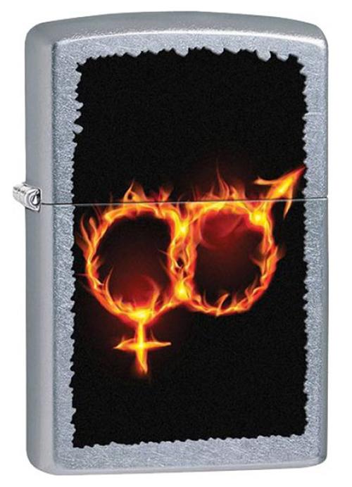 Зажигалка ZIPPO Man Woman Fire, латунь с покрытием Street Chrome™, серебристый, матовая, 36х12x56 ммЗажигалки Zippo<br>Зажигалка ZIPPO Man Woman Fire, латунь с покрытием Street Chrome™, серебряный, матовая, 36х12x56 мм<br>