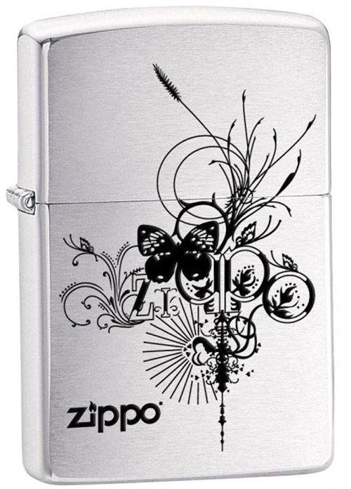 Зажигалка ZIPPO Butterfly, латунь с покрытием Brushed Chrome, серебристый, матовая, 36х12x56 ммЗажигалки Zippo<br>Зажигалка ZIPPO Butterfly, латунь с никеле-хромовым покрытием, серебряный, матовая, 36х12x56 мм<br>