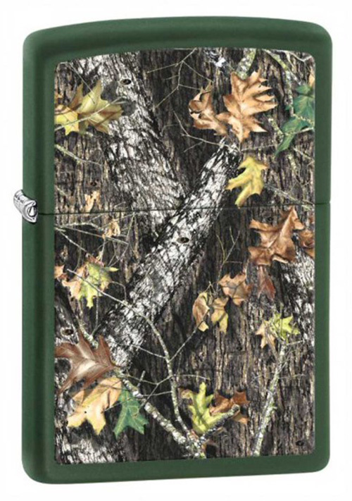 Зажигалка ZIPPO Mossy Oak, латунь с покрытием Green Matte, зеленый, матовая, 36х12x56 мм