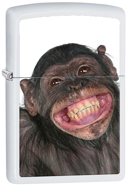 Зажигалка ZIPPO Monkey, латунь с покрытием White Matt, белая, матовая, 36х12x56 ммЗажигалки Zippo<br>Зажигалка ZIPPO Monkey, латунь с покрытием White Matt, белая с рисунком обезьянки, матовая, 36х12x56 мм<br>