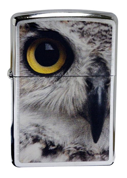 Зажигалка ZIPPO Owl, латунь с покрытием Brushed Chrome, серебристая, матовый хром, 36х12x56 ммЗажигалки Zippo<br>Зажигалка ZIPPO Owl, латунь с покрытием Brushed Chrome, серебряный с изображением совы, матовый хром, 36х56х12 мм<br>
