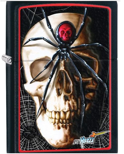 Зажигалка ZIPPO Mazzi, латунь с покрытием Black Matte, черный, матовая, 36х12x56 ммЗажигалки Zippo<br>Зажигалка ZIPPO Mazzi, латунь c покрытием Black Matte, черный с изображением черепа, паука и паутины, матовая, 36х12x56 мм<br>