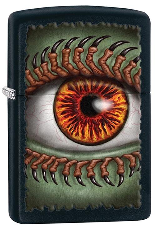 Зажигалка ZIPPO Monster Eye, латунь с покрытием Black Matte, чёрная, 36х12x56 ммЗажигалки Zippo<br>Зажигалка ZIPPO Monster Eye, латунь с покрытием Black Matte, черный с рисунком глаза на зеленом фоне, матовая, 36х12x56 мм<br>