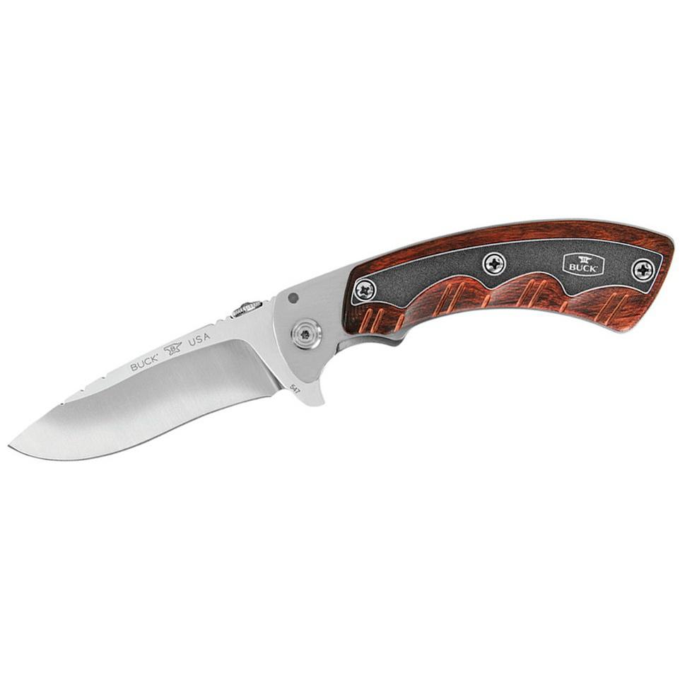 Нож складной Open Season Folding Skinner B0547RWSРаскладные ножи<br>Общая длина215 мм<br>Длина клинка95 мм<br>Длина в сложенном виде120 мм<br>Толщина клинка3.1 мм<br>Материал клинкаСталь S30V<br>Твёрдость59-61 HRC<br>РукояткаДерево Dymonwood<br>Вес170 гр<br>НожныКожаные<br>ПроизводительBUCK, США<br>Страна изготовительСША<br>