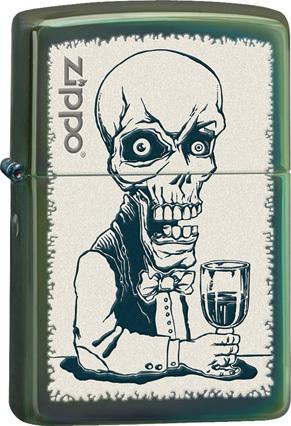 Зажигалка ZIPPO Skeleton, латунь с покрытием Chameleon™, зеленый, глянцевая, 36х12x56 ммЗажигалки Zippo<br>Зажигалка ZIPPO Skeleton, латунь с покрытием Chameleon™, зеленый с картинкой скелета-бармена, глянцевая, 36х12x56 мм<br>