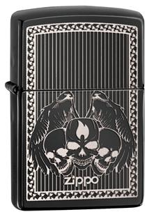 Зажигалка ZIPPO Classic, латунь с покрытием Ebony™, черный, глянцевая, 36х12x56 ммЗажигалки Zippo<br>Зажигалка ZIPPO Classic, латунь с покрытием Ebony™, черный с черепами и крыльями, глянцевая, 36х12x56 мм<br>