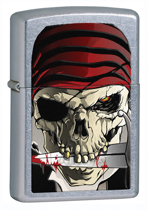 Зажигалка ZIPPO Pirate, латунь с покрытием Street Chrome™, серебристый, матовая, 36х12x56 ммЗажигалки Zippo<br>Зажигалка ZIPPO Pirate, латунь с покрытием Street Chrome™, серебряный с рисунком черепа-пирата, матовая, 36х12x56 мм<br>