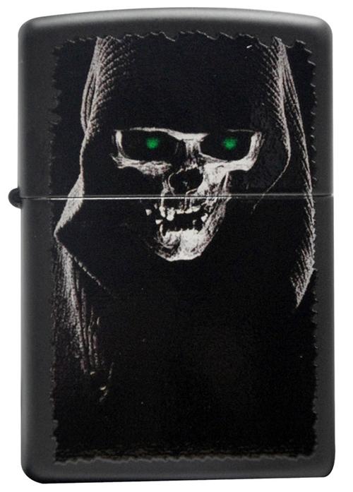 Зажигалка ZIPPO Skull, латунь с покрытием Black Matte, черный, матовая, 36х12x56 мм
