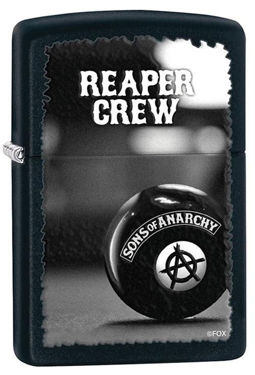 Зажигалка ZIPPO Reaper Crew, латунь с покрытием Black Matte, черный, матовая, 36х12x56 ммЗажигалки Zippo<br>Зажигалка ZIPPO Sons of Anarchy, латунь с покрытием Black Matte, черный, матовая, 36х12x56 мм<br>