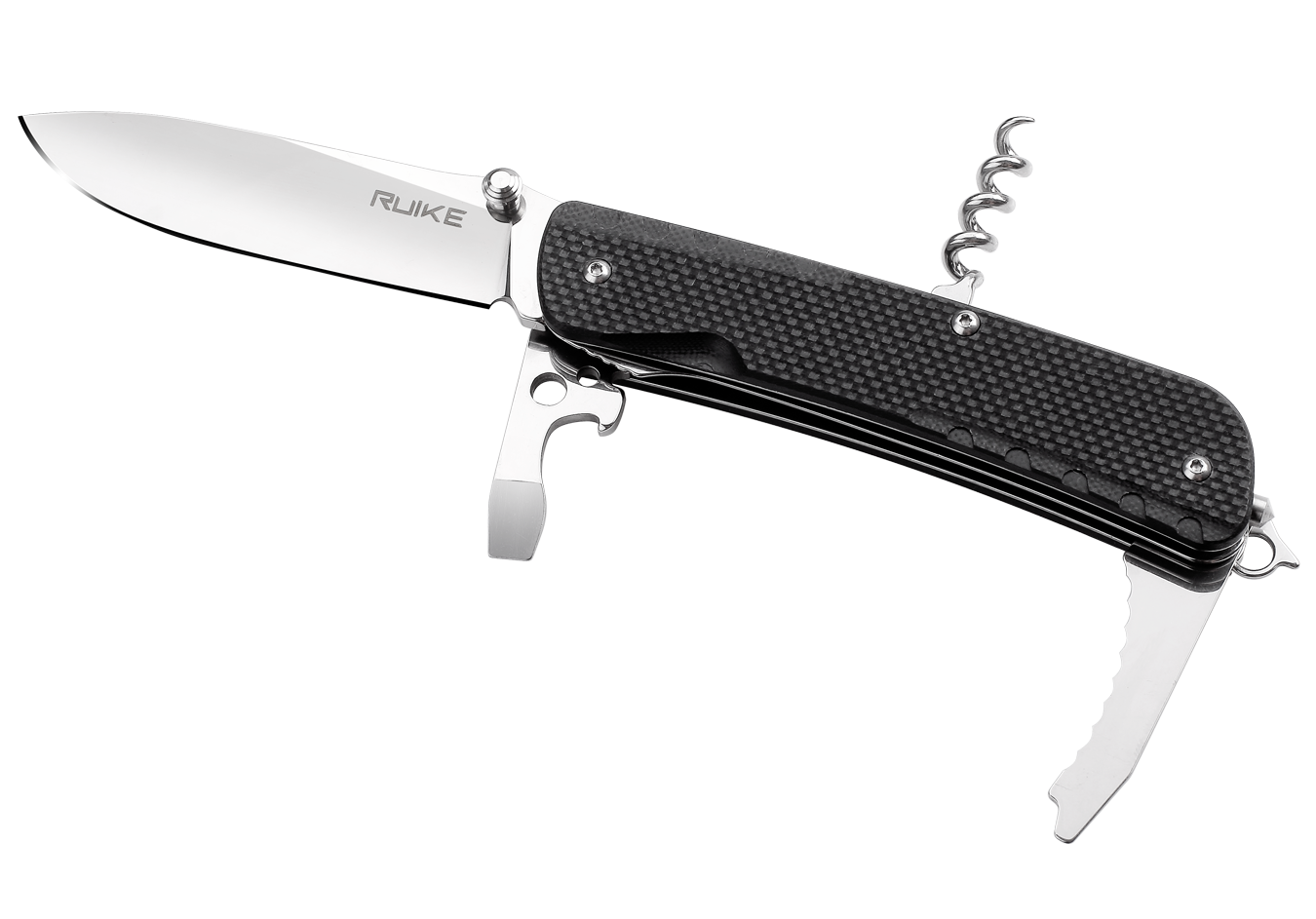 Нож складной Ruike LD21-B, черныйРаскладные ножи<br>Практичный складной нож Ruike LD21-B с лаконичным оформлением и богатым функционалом станет отличным помощников для каждого мужчины. Набор самых необходимых инструментов будет всегда в кармане. Не нужно отдельно носить при себе штопор, отвертку, стропорез или открывалку.Шведская сталь Sandvik 12C27, из которой изготовлен клинок и прочие инструменты конструкции, отличается крепостью и износостойкостью. Металл не подвержен коррозии, переносит большие нагрузки и механическое воздействие.Складной нож с открывалкой для бутылок включает в себя штопор, инструмент для механической зачистки проводов, отвертки и прочие полезные составляющие. Эргономичная рукоять сделана из стойкого к температурным перепадам и солнечным лучам композитного материала G10.<br>Особенности:<br><br>многофункциональный карманный нож;<br>данная модель выполняет 12 функций;<br>нож изготовлен из стали-нержавейки 12C27;<br>лезвие сделано гладко заточенным;<br>метод финишной шлифовки — зеркальная полировка;<br>длина лезвия — 85 мм;<br>нож имеет толщину 3 мм;<br>дополнительные инструменты встроены в рукоятку;<br>ручка ножа сделана из G10;<br>модель Ruike LD-21 весит 138 грамм.<br>