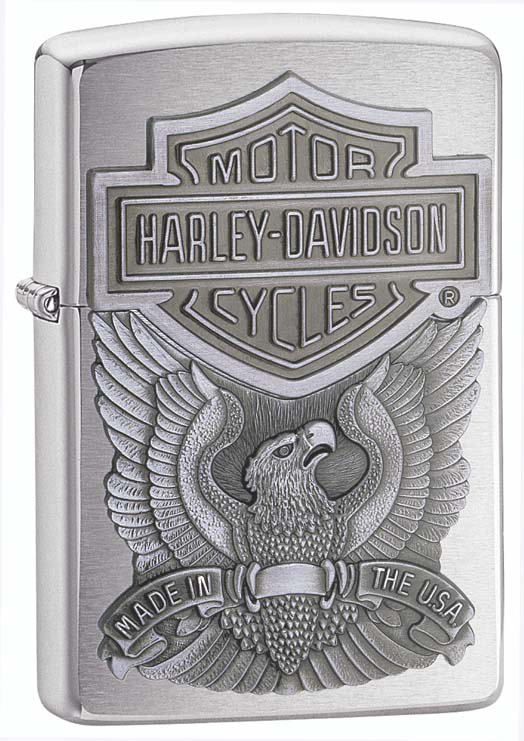 Зажигалка ZIPPO Harley-Davidson®, с покрытием Brushed Chrome, латунь/сталь, серебристая, 36x12x56 мм motorcycle chrome skull horn cover for harley sportster dyna softail glide ultra road king classic custom