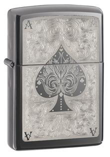 Зажигалка ZIPPO Ace, латунь с покрытием Black Ice®, чёрный, глянцевая, 36х12x56 мм зажигалка zippo slim black ice 3 1 5 5 см