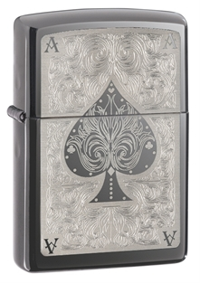 Зажигалка ZIPPO Ace, латунь с покрытием Black Ice®, чёрный, глянцевая, 36х12x56 мм zippo slim black