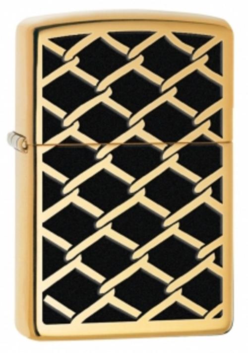 Зажигалка ZIPPO Fence Design, латунь с покрытием High Polish Brass, золотистый, 36х12x56 ммЗажигалки Zippo<br>Зажигалка ZIPPO Fence Design, латунь с покрытием High Polish Brass, золотой с орнаментом ввиде золотой цепи, глянцевая, 36х12x56 мм<br>