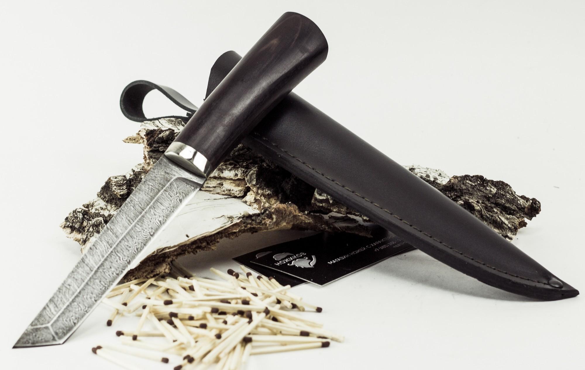 Нож Японец, дамасская сталь