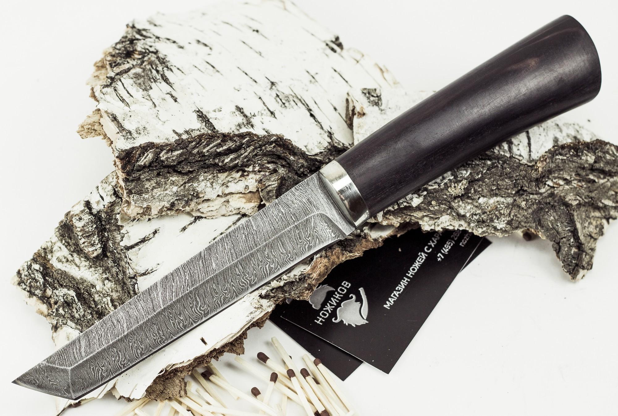 Нож Японец, дамасская сталь нож страйт сталь 65х13