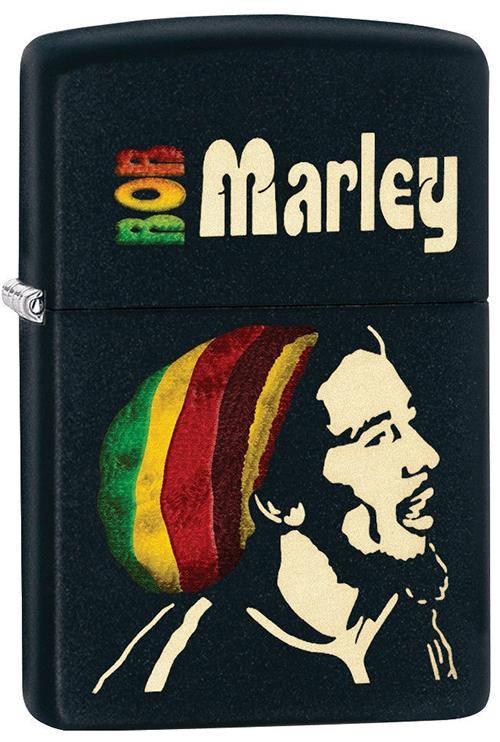 Зажигалка ZIPPO Bob Marley, латунь с покрытием Black Matte, черный, матовая, 36х12x56 ммЗажигалки Zippo<br>Зажигалка ZIPPO Bob Marley, латунь с покрытием Black Matte, черный с изображением Боба Марли, матовая, 36х12x56 мм<br>