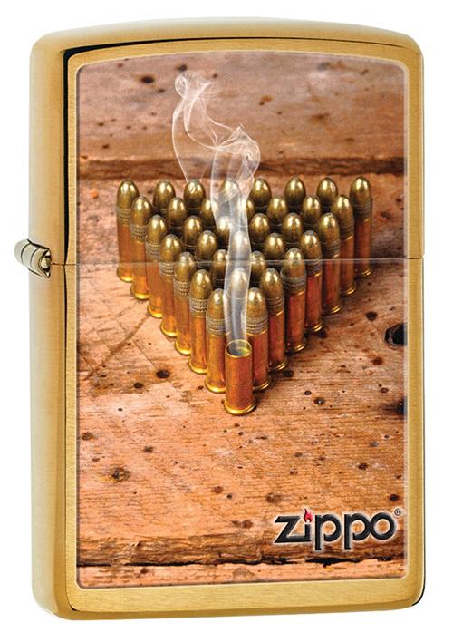 Зажигалка ZIPPO Bullets, латунь с покрытием Brushed Brass, медный, матовый, 36х12x56 ммЗажигалки Zippo<br>Зажигалка ZIPPO Bullets, латунь с покрытием Brushed Brass, медный, матовый, 36х12x56 мм<br>