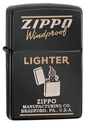 Зажигалка ZIPPO Classic, латунь с покрытием Ebony™, черный, глянцевая, 36х56х12 ммЗажигалки Zippo<br>Зажигалка ZIPPO Classic, латунь с покрытием Ebony™, черный, глянцевая, 36х56х12 мм<br>