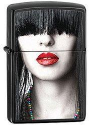 Зажигалка ZIPPO Red Lips, латунь с покрытием Ebony™, чёрный, матовая, 36х56х12 ммЗажигалки Zippo<br>Зажигалка ZIPPO Red Lips, латунь с покрытием Ebony™, черный, матовая, 36х56х12 мм<br>