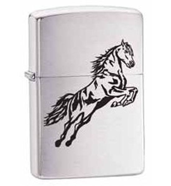 Зажигалка ZIPPO Horse, латунь с покрытием Brushed Chrome, серебристый, матовая, 36х12x56 мм зажигалка zippo double twister латунь с покрытием brushed chrome серебристый матовая 36х12x56 мм