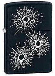 Зажигалка ZIPPO Bullet Holes, латунь с покрытием Black Matte, чёрный, матовая, 36х12x56 ммЗажигалки Zippo<br>Зажигалка ZIPPO Bullet Holes, латунь с покрытием Black Matte, черный, матовая, 36х12x56 мм<br>