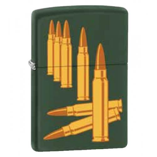 Зажигалка ZIPPO Bullets, латунь с покрытием Green Matte, зелёный, матовая, 36х12x56 ммЗажигалки Zippo<br>Зажигалка ZIPPO Bullets, латунь с покрытием Green Matte, зеленый, матовая, 36х56х12 мм<br>