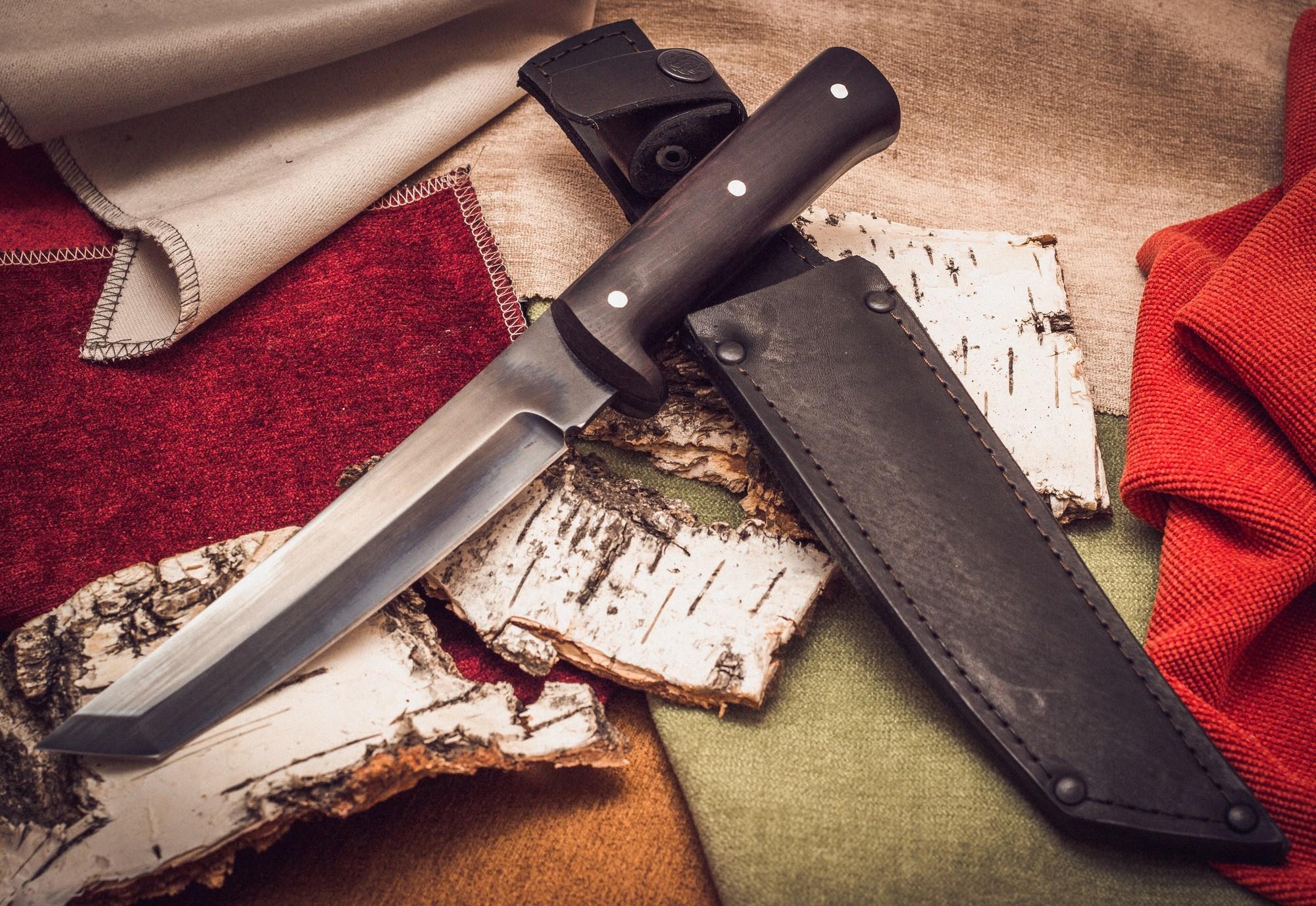 Фото 3 - Нож Тантоид MT-12, черный граб, сталь 65Г