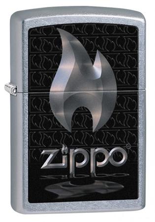 Зажигалка ZIPPO Flame Street Chrome,латунь с никеле-хром. покрыт.,серебр.,матов.,36х12х56 ммЗажигалки Zippo<br>Зажигалка ZIPPO Flame Street Chrome, латунь с никеле-хромовым покрытием, серебряный, матовая, 36х12х56 мм<br>
