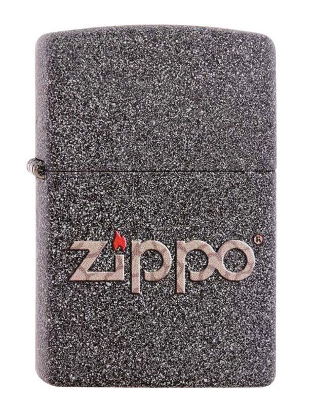 Зажигалка ZIPPO, латунь с покрытием Iron Stone™, серая с фирменным логотипом, матовая, 36x12x56 мм