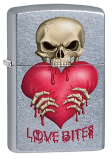 Зажигалка ZIPPO Love Bites Street Chrome,латунь с никеле-хром. покрыт.,серебр.,матов., 36х12х56 мм
