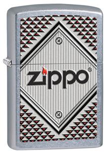 Зажигалка ZIPPO Red&chrome Street Chrome,латунь с ник.-хром. покрыт.,серебр.,матов., 36х12х56 мм
