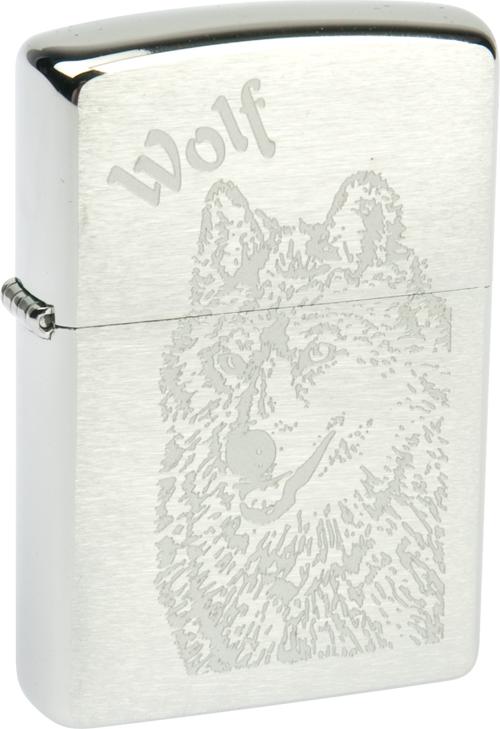 Зажигалка ZIPPO Wolf Brushed Chrome, латунь с никеле-хром.покрыт., серебр., матов., 36х56х12 ммЗажигалки Zippo<br>Зажигалка ZIPPO Wolf Brushed Chrome, латунь с никеле-хромовым покрытием, серебряный, матовая, 36х56х12 мм<br>