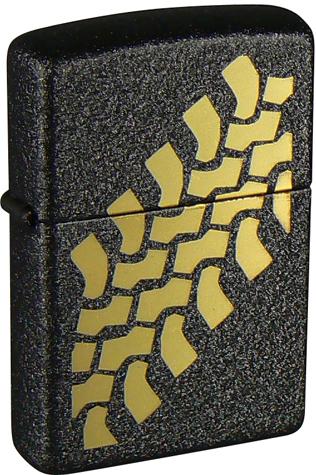 Зажигалка ZIPPO Tire Track Black Crackle, латунь с порошковым покрытием, черная, матовая,36х56х12 ммЗажигалки Zippo<br>Зажигалка ZIPPO Tire Tracks Black Crackle, латунь с порошковым покрытием, черная, матовая, 36х56х12 мм<br>