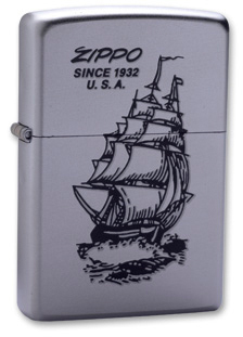 Зажигалка ZIPPO Boat-Zippo Satin Chrome, латунь с ник.-хром. покрыт.,сереб.,матовая, 36х56х12мм