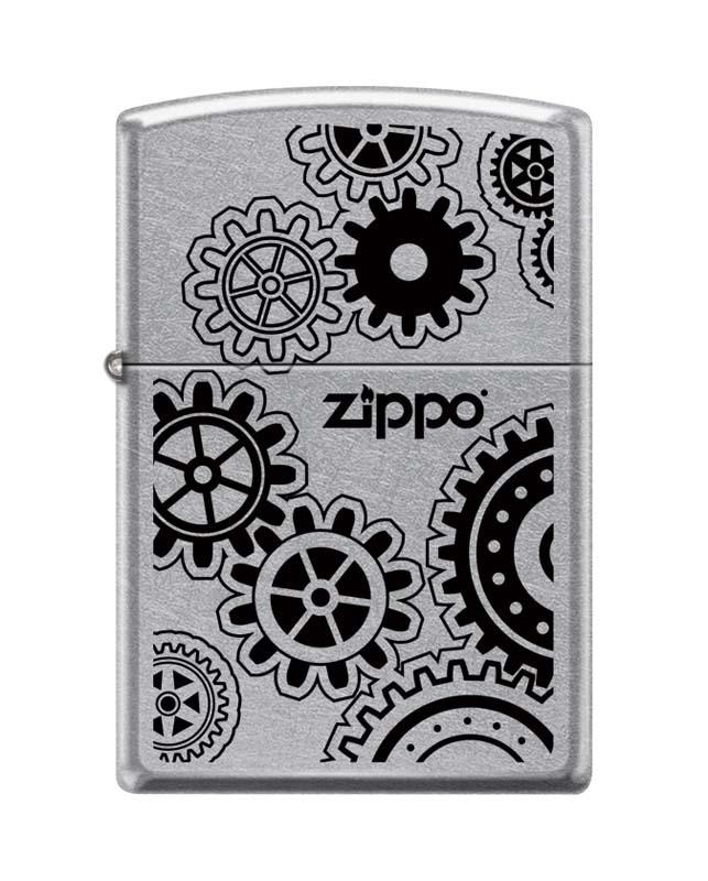 Зажигалка ZIPPO 207 Cog Wheels, латунь/сталь с покрытием Street Chrome™, серебристая, 36x12x56 ммЗажигалки Zippo<br>Зажигалка ZIPPO 207 Cog Wheels, латунь/сталь с покрытием Street Chrome™, серебристая с изображением часовых шерестерёнок, матовая, 36x12x56 мм<br>