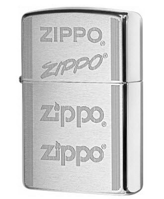 Зажигалка ZIPPO 200 Zippo Logo с покрытием Brushed Chrome, латунь/сталь, серебристая, 36x12x56 мм зажигалка zippo rolling stones с покрытием satin chrome™ латунь сталь серебристая 36x12x56 мм