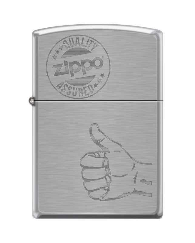 Зажигалка ZIPPO 200 Zippo Quality Assured, латунь/сталь с покрытием Brushed Chrome, 36x12x56 ммЗажигалки Zippo<br>Зажигалка ZIPPO 200 Zippo Quality Assured, латунь/сталь с покрытием Brushed Chrome, серебристая, матовая, 36x12x56 мм<br>
