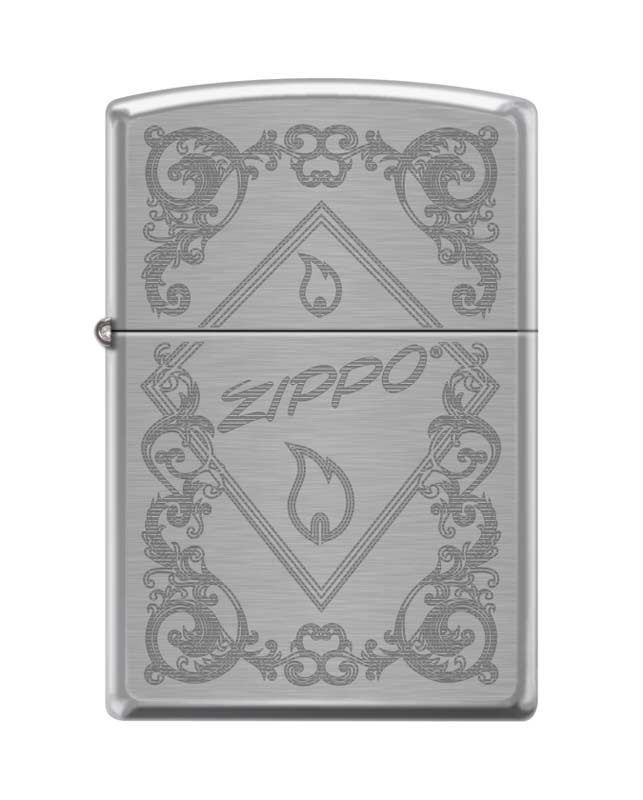 Зажигалка ZIPPO 200 Zippo Framed Flame, латунь/сталь с покрытием Brushed Chrome, 36x12x56 ммЗажигалки Zippo<br>Зажигалка ZIPPO 200 Zippo Framed Flame, латунь/сталь с покрытием Brushed Chrome, серебристая с витиеватым узором и словом ZIPPO в треугольнике, матовая, 36x12x56 мм<br>