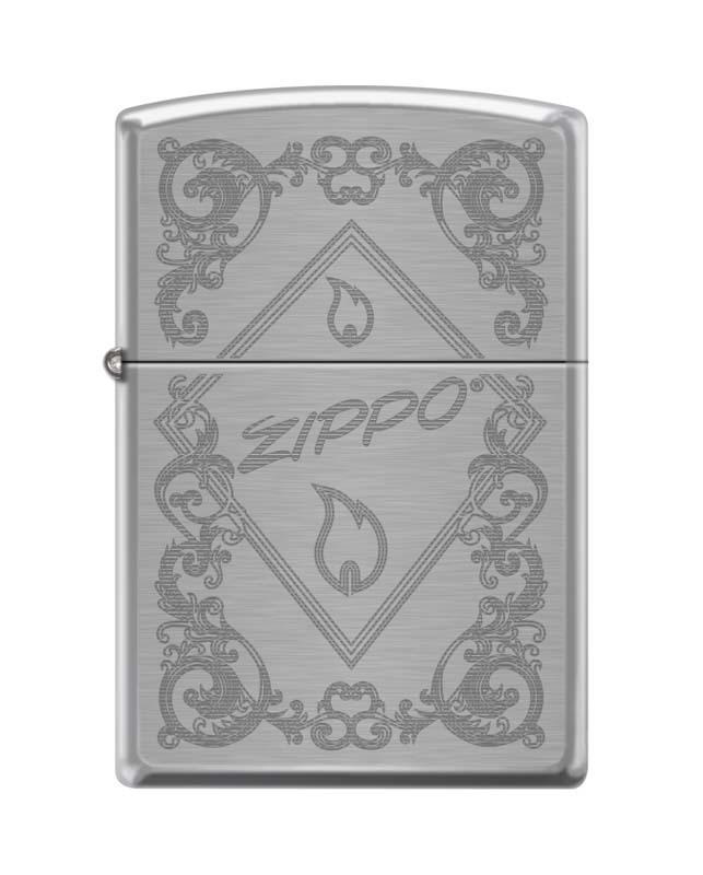 Зажигалка ZIPPO 200 Zippo Framed Flame, латунь/сталь с покрытием Brushed Chrome, 36x12x56 мм