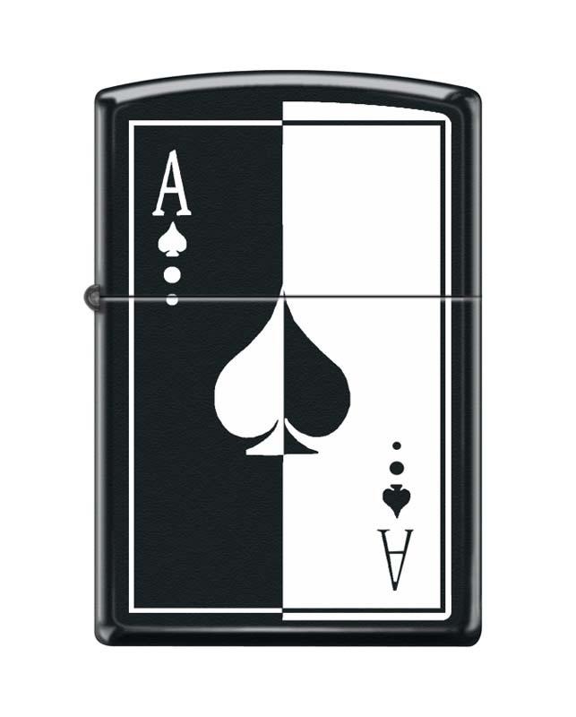 Зажигалка ZIPPO 218 Ace, латунь/сталь с покрытием Black Matte, чёрная, матовая, 36x12x56 ммЗажигалки Zippo<br>Зажигалка ZIPPO 218 Ace, латунь/сталь с покрытием Black Matte, чёрная с изображением карточного туза, матовая, 36x12x56 мм<br>