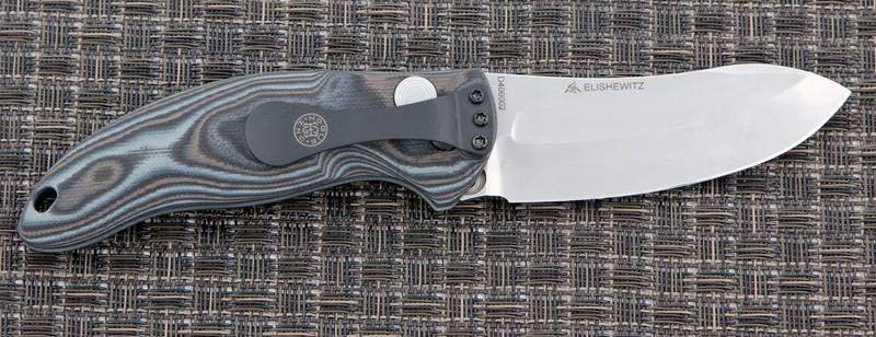 Автоматический складной нож EX-04 Auto, Stone-Tumbled Upswept Blade, Black/Gray/Lava G-Mascus® G10 Handle 8.89 см.