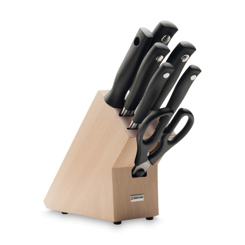 Набор кухонных ножей 5 шт., муссат, кухонные ножницы 9851 на деревянной подставке, серия Grand Prix II от Wuesthof