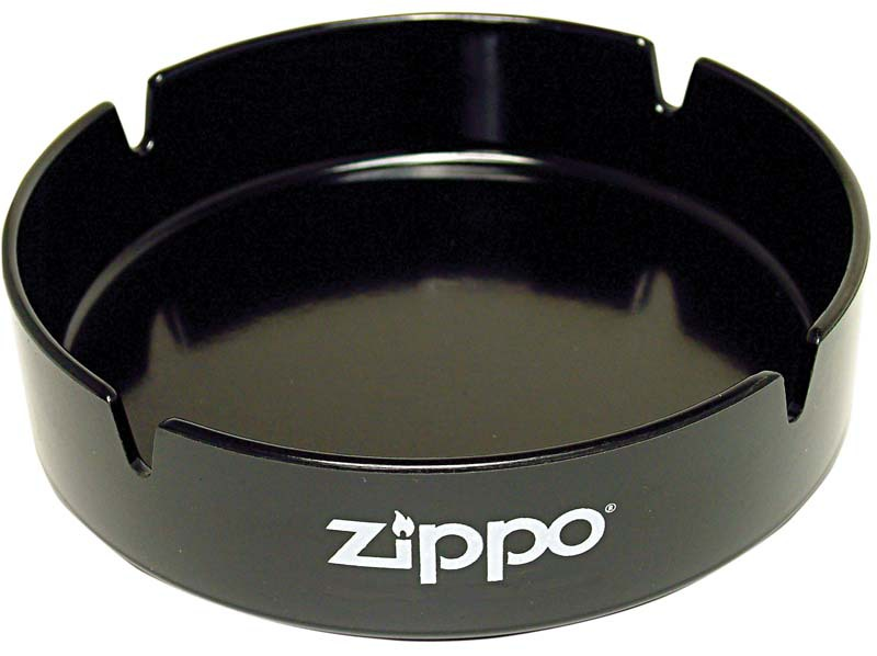 Пепельница ZIPPO, долговечный пластик, чёрная с фирменным логотипом, диаметр 13 см