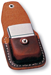Чехол Zippo для зажигалки, кожа, с металлическим фиксатором на ремень, коричневый, 57х30x75 мм