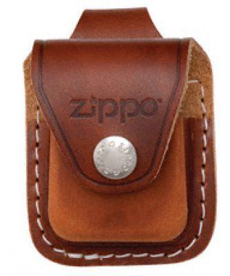 Чехол ZIPPO для широкой зажигалки, кожа, с кожаным фиксатором на ремень, коричневый, 57x30x75 мм