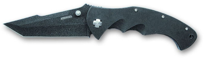 Нож складной Stinger, 93 мм (черный), рукоять: сталь/пластик (черный), картонная коробка