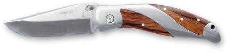 Нож складной Stinger, 80 мм (серебристый), рукоять: сталь/дерево (серебр.-корич.), коробка металл